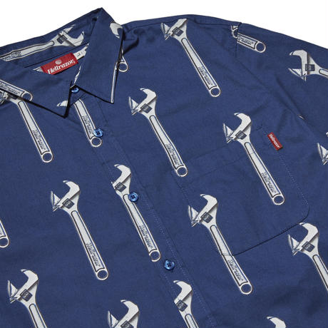 HELLRAZOR WRENCH BUTTON SHIRT-NAVY