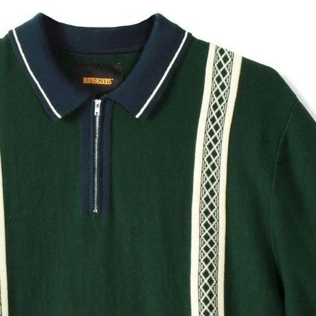 BUTTER GOODS NEWARK ZIP POLO SHIRT-F,GREEN