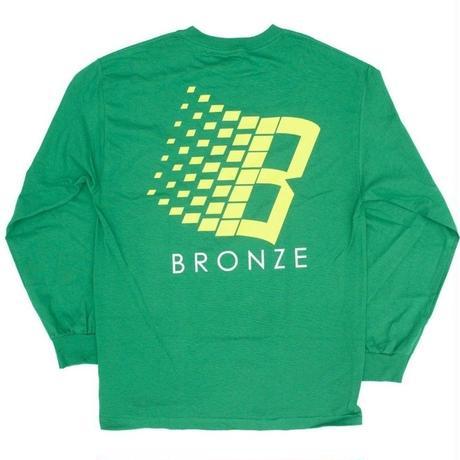 BRONZE 56K B LOGO L/S TEE K, GREEN/YELLOW