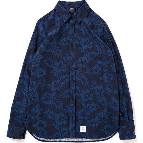 【APPLEBUM】Flower Broad LS Shirt [Navy/Blue]
