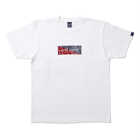 【APPLEBUM】Bandanna Box Logo T-shirt [White/Navy&Red]