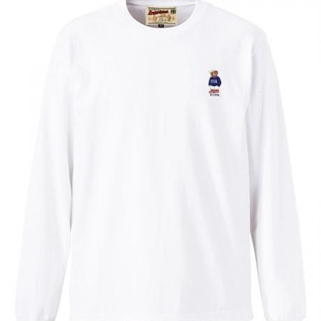 【INTERBREED】USA BEAR EMBROIDERED LS TEE(WHITE)