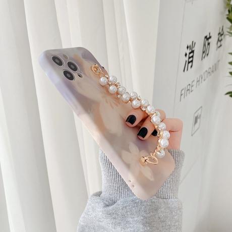 【送料無料】ビッグフラワーパールストーンチェーンスマホケース