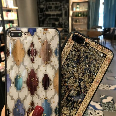 【送料無料】モロッコタイル柄金箔デザインスマホケース