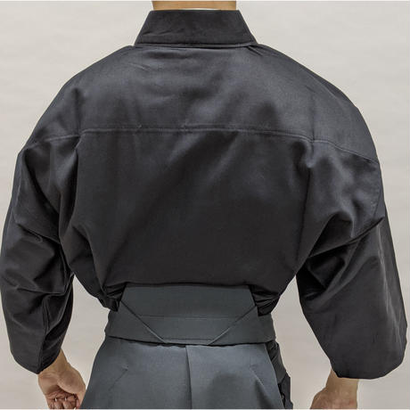 櫻屋印 居合道着 黒/白綿ギャバ Iaido-Gi Gabardine cotton Black/White SIZE1