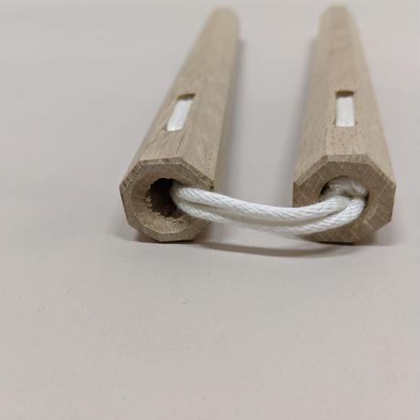 樫ヌンチャク(八角/30cm/紐) Nunchaku(Oak/Hakkaku/30cm/Rope)