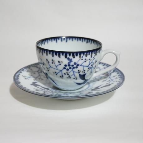たなかふみえ 銀彩鳥小花 コーヒー碗皿