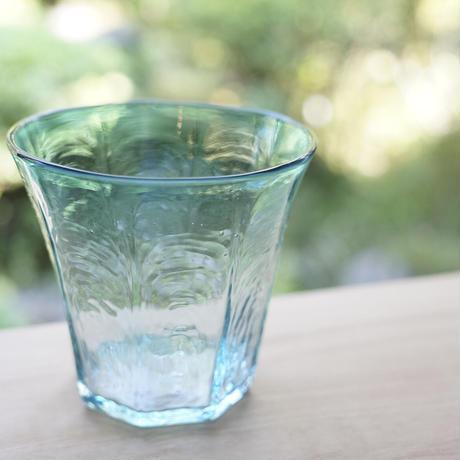 安土草多 八角グラス中 青透被せ
