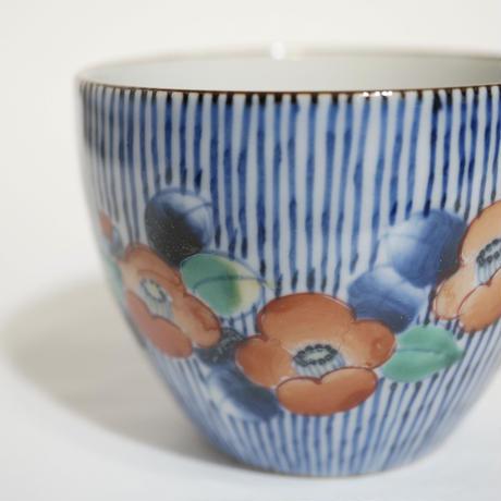 たなかふみえ 染錦線画椿 蕎麦猪口(フリーカップ)