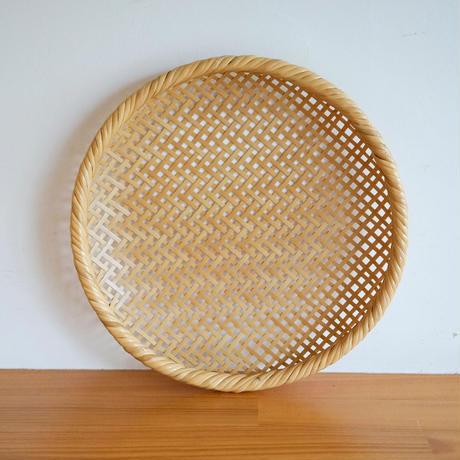 髙見八州洋 竹の盛かご透かし網代丸小