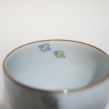 たなかふみえ 染錦波千鳥 蕎麦猪口(フリーカップ)