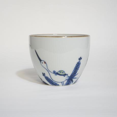 たなかふみえ 染錦祝々鶴亀 蕎麦猪口(フリーカップ)