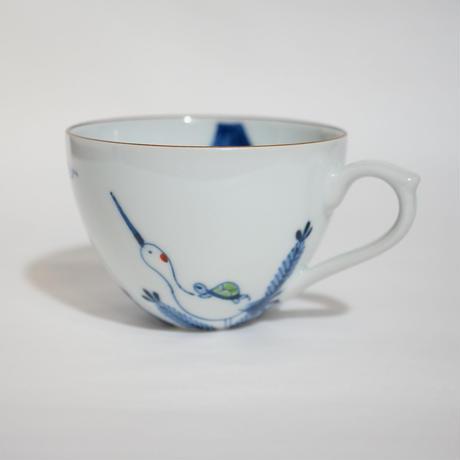 たなかふみえ 染錦祝々鶴亀 コーヒー碗皿