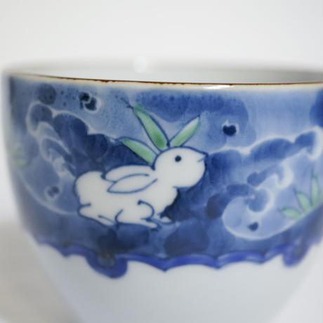たなかふみえ 墨弾き波兎 蕎麦猪口(フリーカップ)
