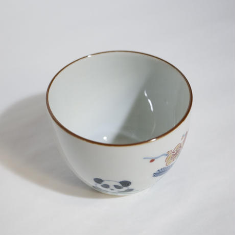たなかふみえ 染錦松竹梅パンダ 蕎麦猪口(フリーカップ)