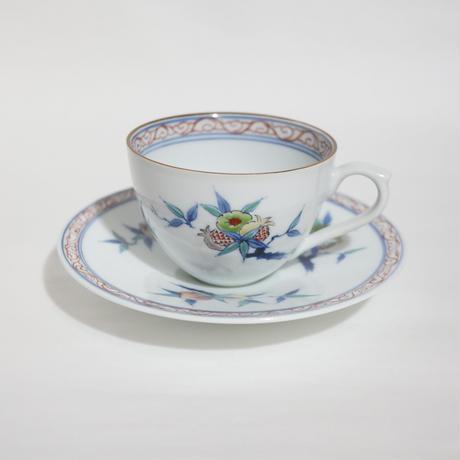 たなかふみえ 染錦三果文 コーヒー碗皿