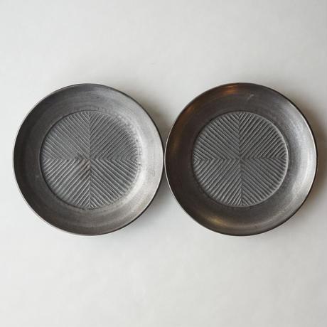 阿南維也 鉄磁銀彩鎬4寸皿