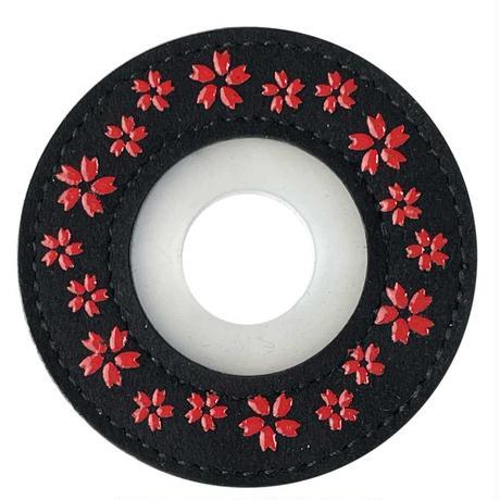綺麗な印伝風紋様 印伝風ツバ止めゴム桜
