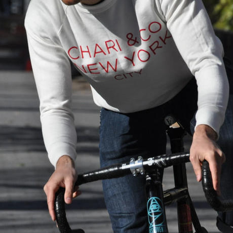 CHARI & CO - CREW NECK SWEATER SIMPLE LOGO WHITE