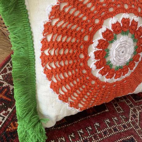 grain sack doily cushion green fringe