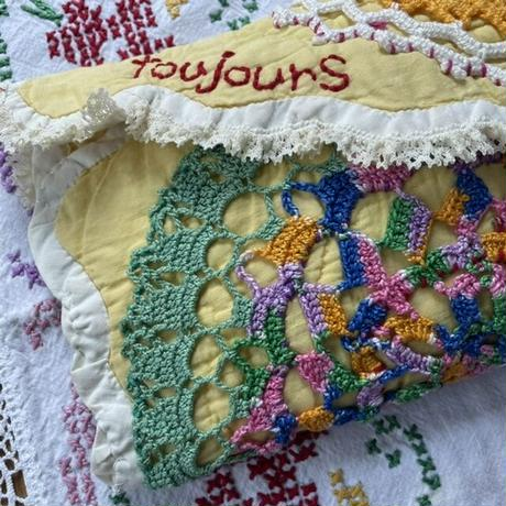 vintage quilt doilies porch