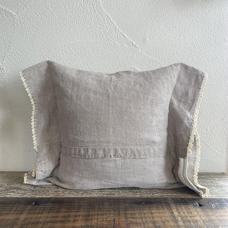 vintage linen flower embroidery cushion