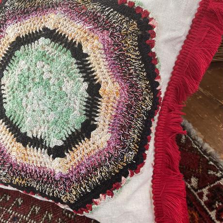 grain sack doily cushion red fringe
