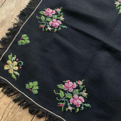 black embroidery doily