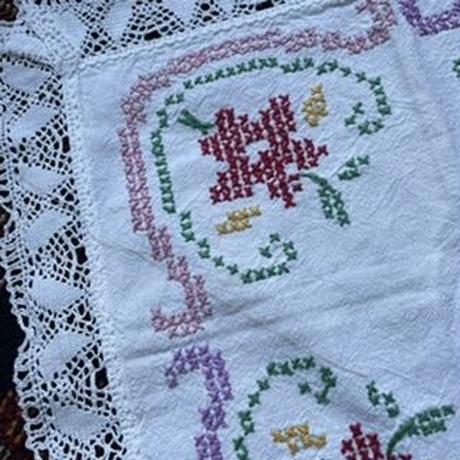vintage cross-stitch fabric