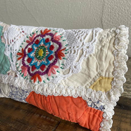 vintage quilt embroidery porch
