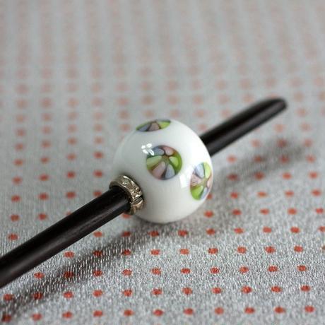 白玉 手毬紋 蜻蛉玉簪