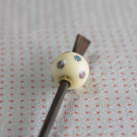 象牙玉 獅子毛紋 蜻蛉玉簪(とんぼ玉かんざし)