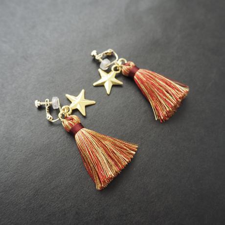 BLACK TRIANGLE DESIGN Earring Tassel and Star