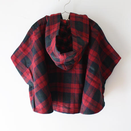 Kids melton clyde cape / red plaid