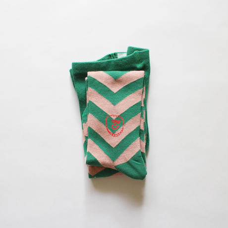 Kids tights chevron pattern / green pink