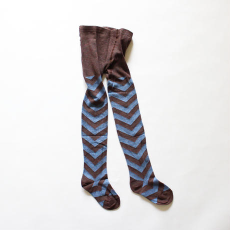 Kids tights chevron pattern / brown blue