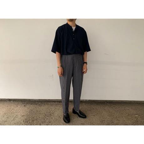 SCYE / CHECKED WOOL PLEATED BELTLESS TROUSERS