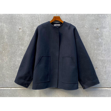AURALEE / SUPER FINE MELTON NO COLLAR BLOUSON