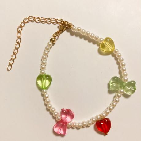 Set of ribbon beads and pearl necklace and bracelet/ anklet