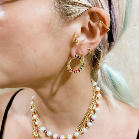 Rainbow hoop earrings