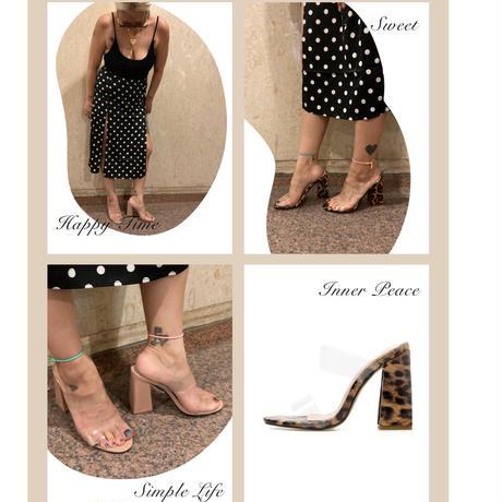 Fat heel clear sandals