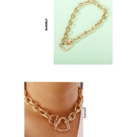 Heart clasp chunky chain necklace