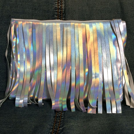 Matte holographic fringe clutch