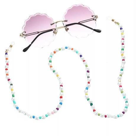 Rainbow pearl and beaded mask&glasses holder