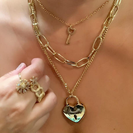 3 layered heart lock necklace