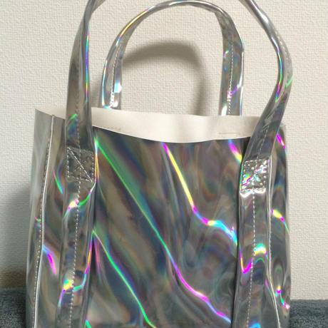 Mini mirror holographic tote bag