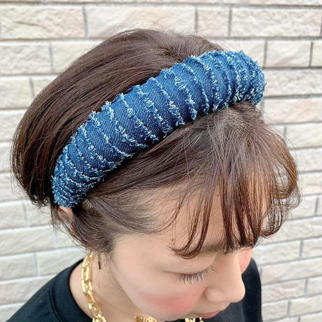 Cut off denim head band