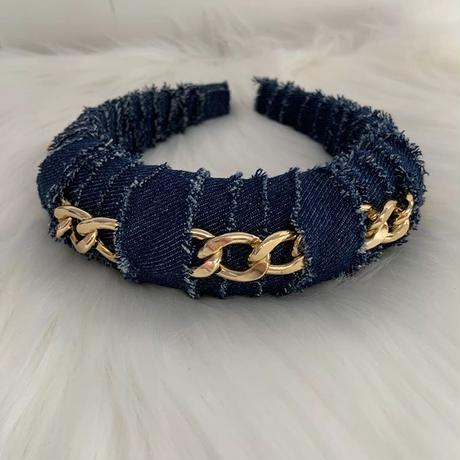 Chain denim head band