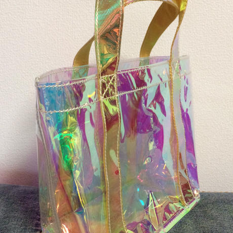 Mini clear holographic tote bag