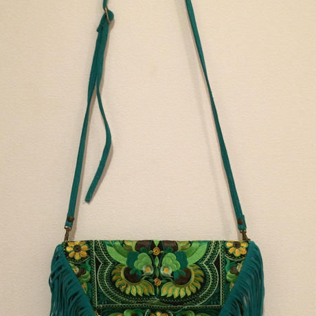 Embroidered long fringed clutch bag w strap